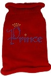 Prince Rhinestone Knit Pet Sweater XL Red